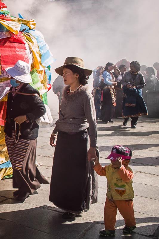 Tibetan woman and child Barkhor Square
