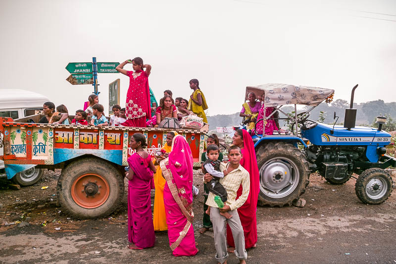 Villagers joining the Hare Krishna festival in Orcha