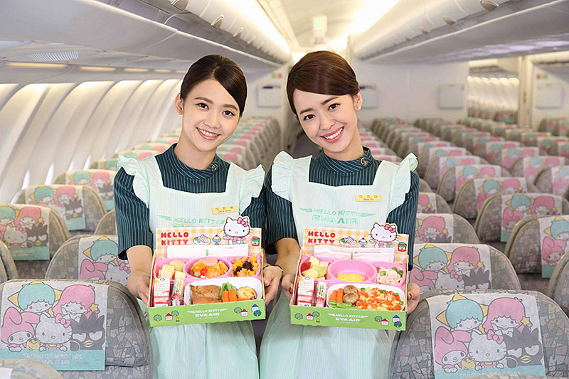 "Eva Air flight attendants with ""Hello Kitty"" meals (photo credit: Star Alliance)"