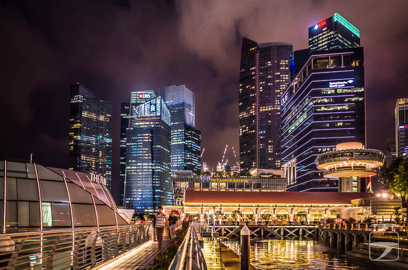 Singapore at Night - Fullerton Bay and Downtown