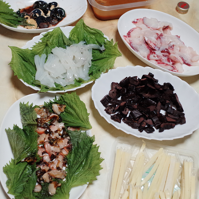 Raw fish and squid