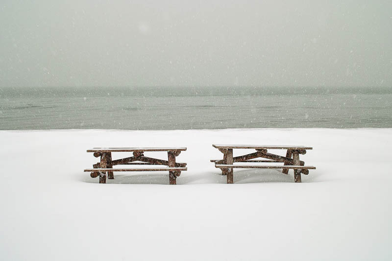 Two benches in the snow