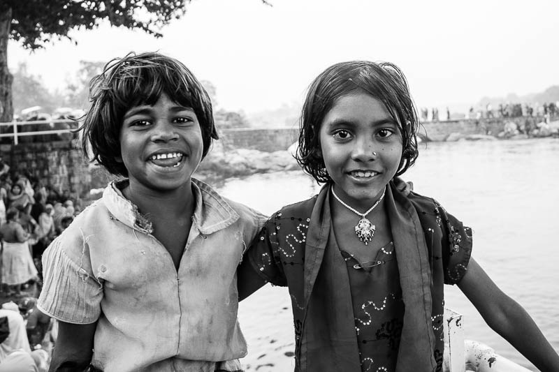 Two girl friends in Orcha during the Hare Krishna festival