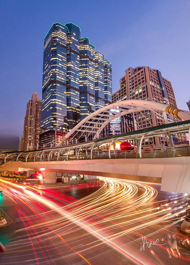 Sathorn Skyrbidge with Empire Tower 1 and 2 in the background