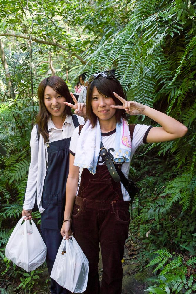Schoolgirls hiking in Iriomote