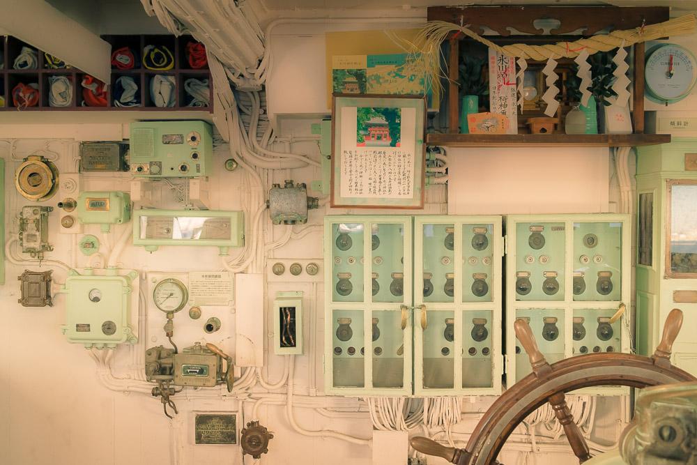 Hikawa Maru – the wheelhouse and Shinto altar