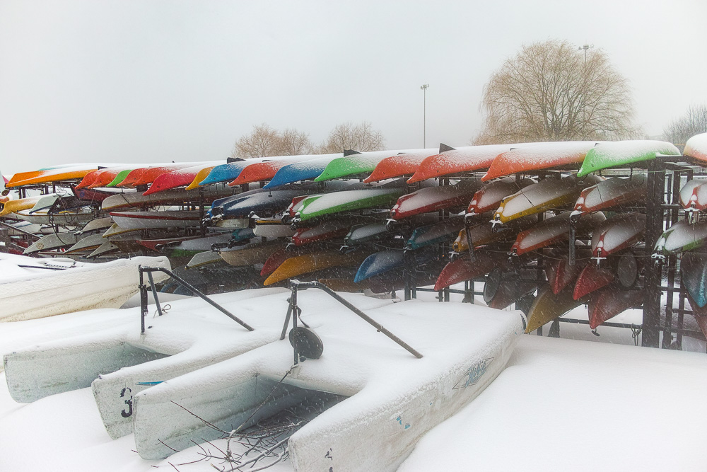 Kayaks in the winter